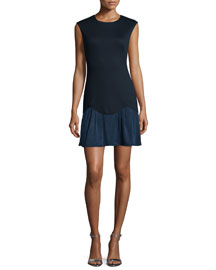 Sleeveless Ponte Combo Dress, Navy