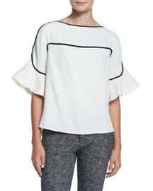Graphic Crepe Bell-Sleeve Top, Off White