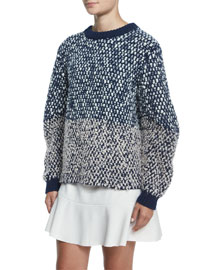 Bobble Knit Long-Sleeve Sweater, Navy