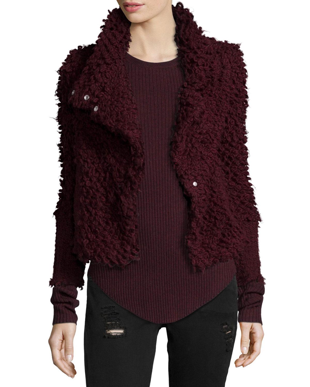 IRO Caty Shaggy Moto Jacket, Burgundy (Red), Size: 36