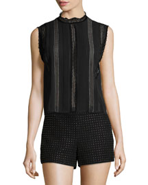 Rhona Sleeveless Lace-Trim Chiffon Blouse, Black