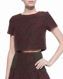 Sarina Short-Sleeve Jacquard Crop Top, Merlot