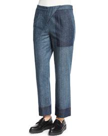 Striped Cross-Front Pants, Blue