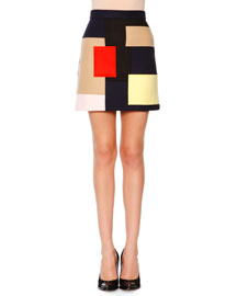 Colorblock Patchwork Skirt