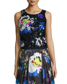Midnight Floral Beaded Top
