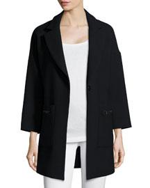 Nikki Single-Button Wool-Blend Coat, Black