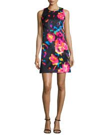 Rosette-Print Shift Dress