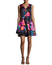 Sleeveless Rosette Cascade Dress, Multicolor