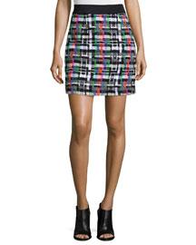 Couture Tweed Zip-Back Skirt