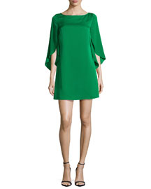 Butterfly-Sleeve Stretch-Silk Dress, Emerald