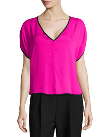 Silk V-Neck Dolman Top