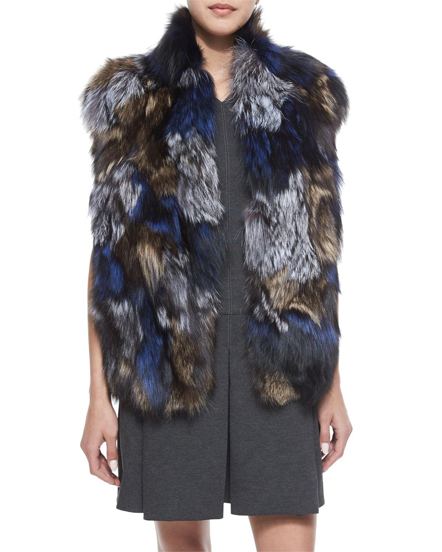 Vince Patchwork Fox Fur Vest, Size: MEDIUM/LARGE, Gry/Natural/H Blu