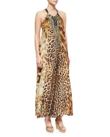 Animal-Print Beaded Racerback Coverup Dress