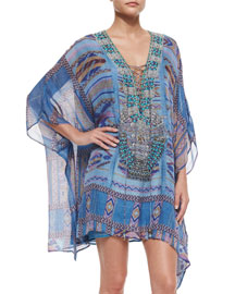 Printed Lace-Up Short Caftan Dress