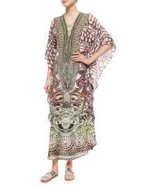 Printed Beaded Lace-Up Caftan Coverup