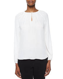 Marnie Long-Sleeve Silk Top, Ivory
