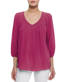 Davi 3/4-Sleeve Stretch-Silk Top, Pink
