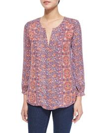 Pazima Floral-Print Silk Top