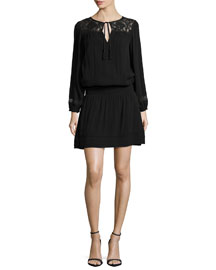 Linza Lace-Inset Dress, Caviar