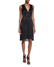 Cathy Sleeveless Lace-Trim Satin Dress, Black