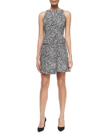 Paisley Doodle Sheath Dress, Black/White