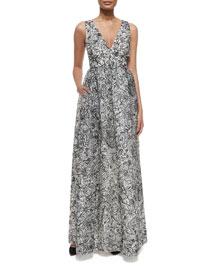 Floral Multipattern Silk Organza Gown, Ivory/Black