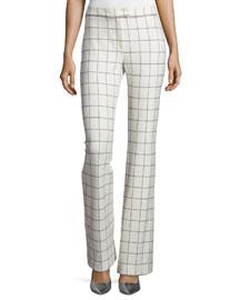 Grid-Print Flared Pants, Ivory