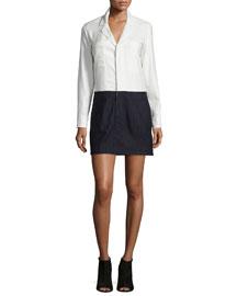 Pinstripe Long-Sleeve Shirtdress, Soft White