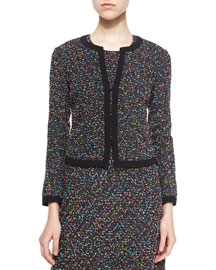 Emery Splatter-Print Tweed Jacket, Black/Multicolor