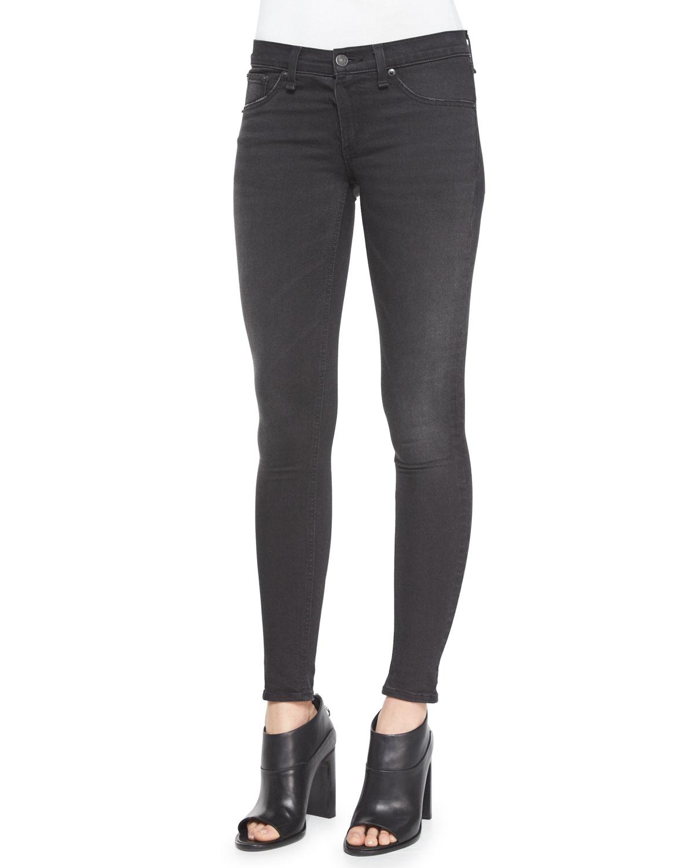 rag & bone/JEAN Low-Rise Denim Leggings, Night (Black), Size: 28