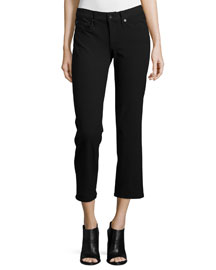 Cropped Straight-Leg Jeans, Equestrian