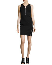 Jada Zip-Front Tank Dress, Black