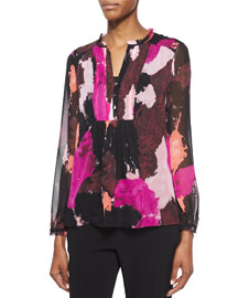 Annalise Dancing Explosion Pleated Silk Blouse, Black/Multicolor