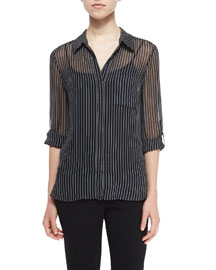 Lorelei Striped Silk Blouse, Gray/White