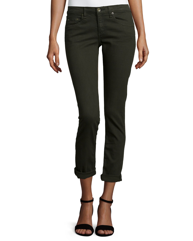 rag & bone/JEAN Dre Low-Rise Cropped Denim Jeans, Aged Dark Olive, Women's, Size: 24