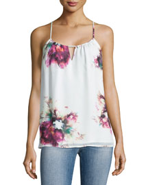 Floral-Print Silk Camisole Top