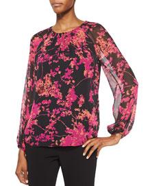 Marnie Floral Daze Sheer-Sleeve Silk Blouse, Black/Multicolor