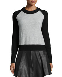 Amelia Two-Tone Back-Zip Pullover, Light Gray