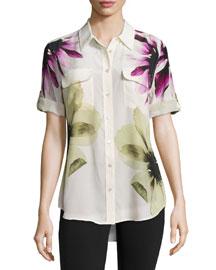 Short-Sleeve Floral-Print Slim Signature Top, Chalk Pink Multi