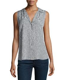 Adalyn Leopard-Pattern Silk Blouse