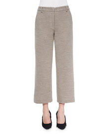 Cropped Wide-Leg Dress Pants