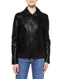Leather Pocket-Detail Zip Jacket, Black