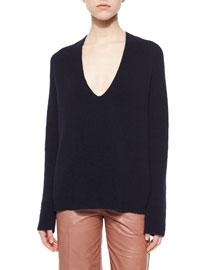 Ribbed V-Neck Merino/Cashmere Sweater
