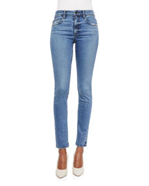 Lightly Distressed Skinny Ankle Jeans