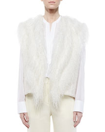 Fur-Trim Knit Vest