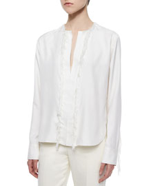 Silk Fringe-Trimmed Blouse