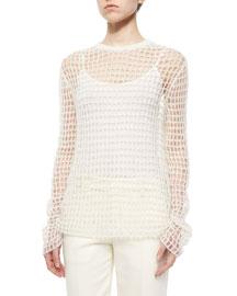 Hand-Knit Open Crochet Sweater, Off White