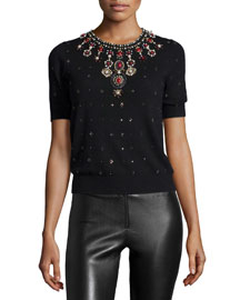 Rosi Short-Sleeve Knit Rhinestone Top, Black