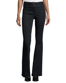 High-Waist Flared Pants, Gray