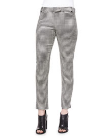 Classic Houndstooth Cigarette Trousers, Black/White